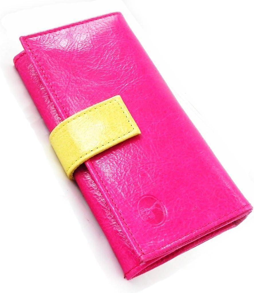 Leather wallet Frandi fuschia anise varnish.