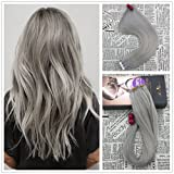 Moresoo 50g/20pcs 100% Straight Unprocessed Human Hair Extension Eheveux Remy Hair Blue Silver Seamless Skin Weft Tape In Hair Extensions 24 inch