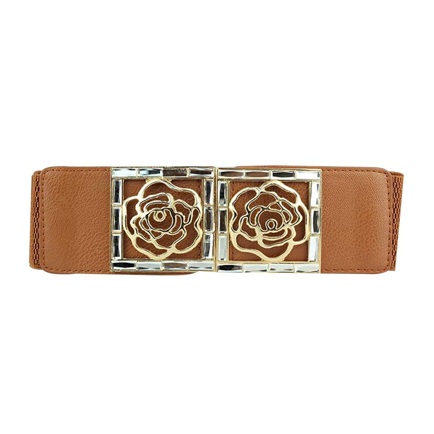 Sitong women's hollow roses diamond wide elastic waistband(6 colors)