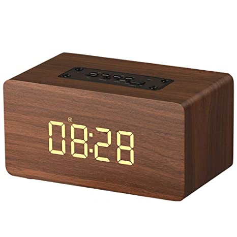 Wireless Bluetooth Speaker,BOOMER VIVI Wooden Portable Touch Speaker with 2 Sets of Alarm Clock LCD Screen,Super Bass,Subwoofers,TF Card,Compatible ...