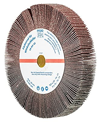 "PFERD 45764 Non-Woven Abrasive Flap Wheel for Angle Grinders, Aluminum Oxide, 5"" Diameter, 5/8-11 Thread, 3/4"" Face Width, 80 Grit, 12200 rpm"