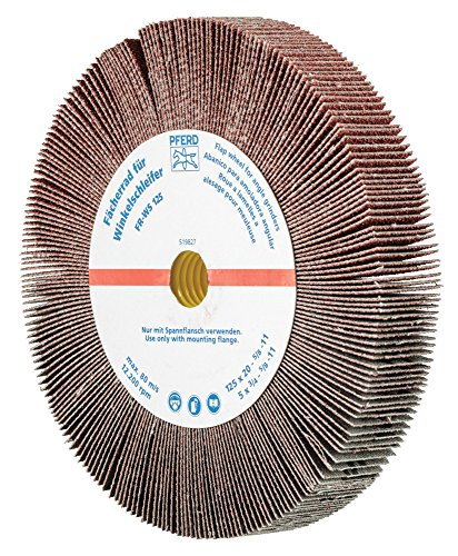 "PFERD 45764 Non-Woven Abrasive Flap Wheel for Angle Grinders, Aluminum Oxide, 5"" Diameter, 5/8-11 Thread, 3/4"" Face Width, 80 Grit, 12200 RPM"