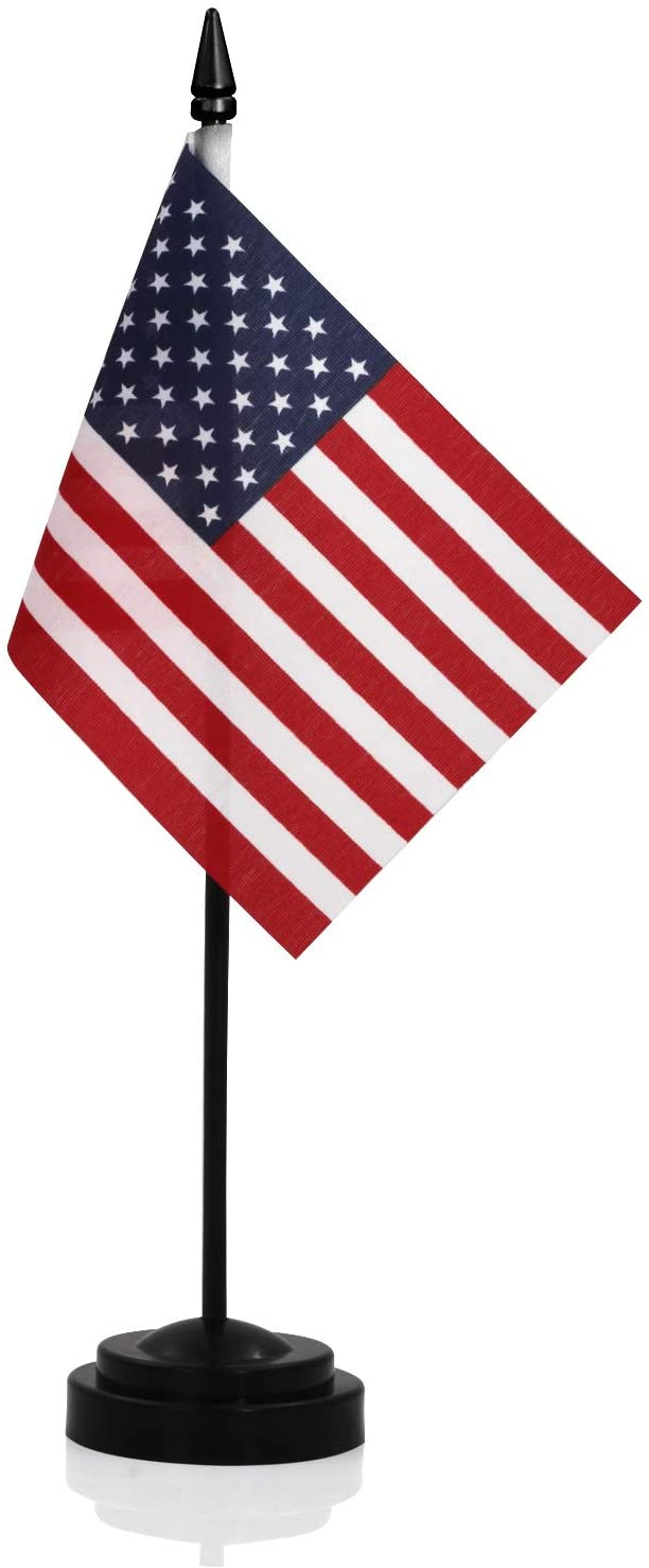 "ANLEY USA Deluxe Desk Flag Set - 6 x 4 inch Miniature American US Desktop Flag with 12"" Solid Pole - Vivid Color and Fade Resistant - Black Base and Spear Top : Office Products"