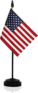 "ANLEY USA Deluxe Desk Flag Set - 6 x 4 inch Miniature American US Desktop Flag with 12"" Solid Pole - Vivid Color and Fade Resistant - Black Base and Spear Top"