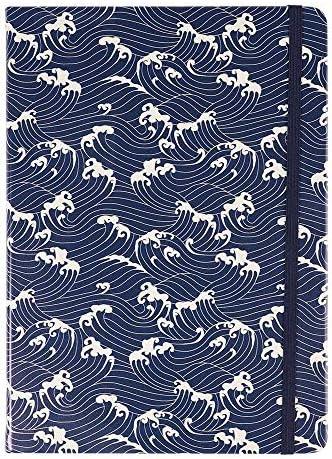 Paperchase Agenzio Hard Navy Waves gelijnd Grote Notebook Notitieblok Journal