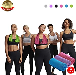 QOLY Cooling Towel Ice Towel 3 PCS Snap Cool Cold Towel Soft Breathable Chilly Towel Instant Relief Cooling Towel Sport and Workout Towel for Fitness, Yoga, Golf, Camping …