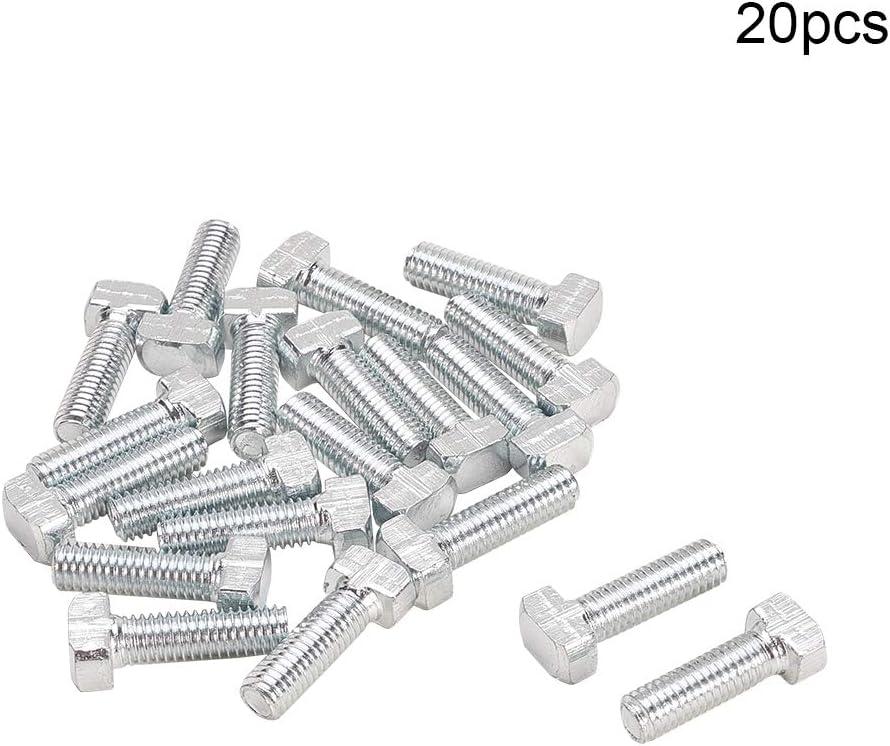 MroMax 10Pcs M6 x 25mm T Slot Drop-in Stud Sliding Bolt Screw Carbon Steel Silver Tone.