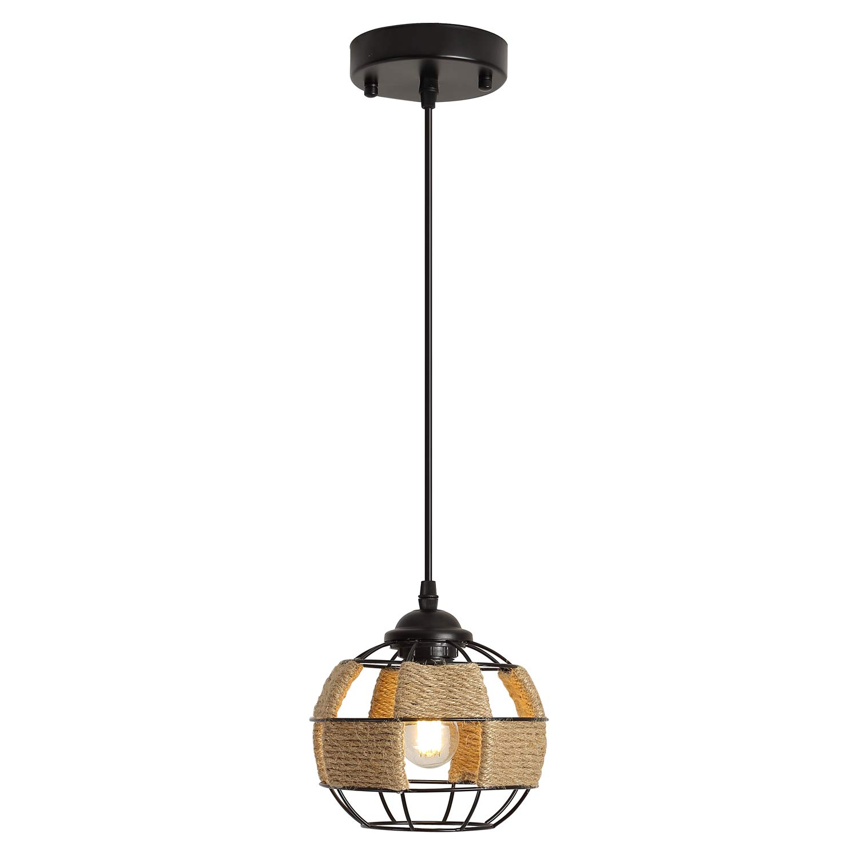 Rustic Mini Woven Pendant Light with 6W LED Bulb, One-Light Industrial Metal Hemp Rope Globe Cage Pendant Lighting Fixture for Kitchen Island Cafe Bar Farmhouse, Black