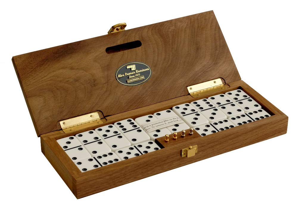 Alex Cramer ''Mariner Domino Set with Black Walnut Case - Premium Quality 28 Double-Six Dominoes with 2 18-Karat Gold-Plated & 2 Nickel-Plated Scoring Pegs (Domino Set with Personalized Brass Plate)
