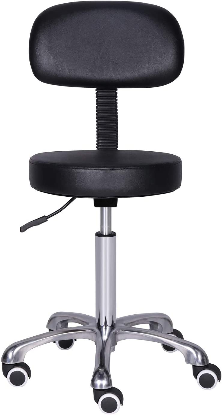 Kaleurrier Rolling Swivel Adjustable Heavy Duty Drafting Stool Chair for Salon,Medical,Office and Home uses,with Wheels and Back (Black)