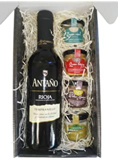 Cesta Gourmet Deliex con Vino Rioja Antaño de 37,5 cl, 2 patés de