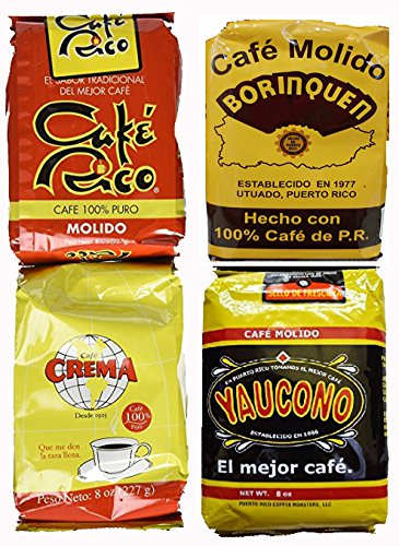 Puerto Rican Variety Pack Ground Coffee - 4 Local Favorites in 8 Ounce Bags (Borinquen, Rico, Yaucono and Crema) Includes Two Envelopes Of Sason Accent Seasoning