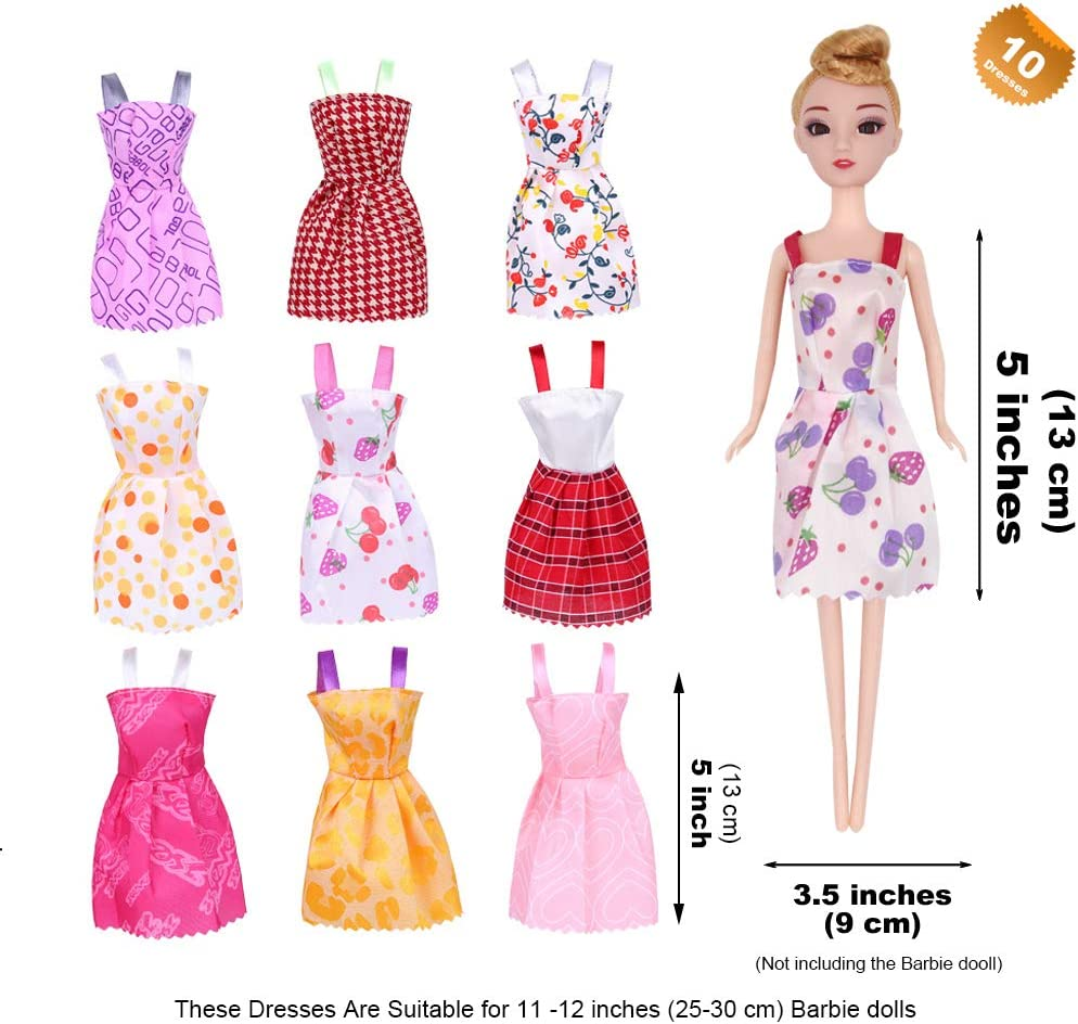 EuTengHao 15 Packs Doll Clothes Dresses for Barbie Dolls Set Contains 5 Handmade Clothes Wedding Party Gown Outfits Dresses for Barbie and 10 Different Princess Doll Dresses Clothing for Barbie Dolls