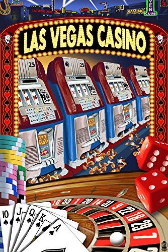 (Las Vegas, Nevada - Casino Montage (12x18 Art Print, Wall Decor Travel Poster))