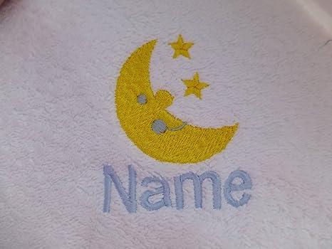 Albornoz con capucha para bebé de color blanco o blanco con capucha toalla con una luna