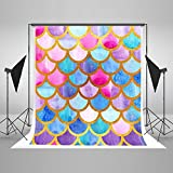 colorful mermaid scales watercolor fish scales Princess Gold Backgrounds High-grade Pictorial cloth Computer print party backdrops