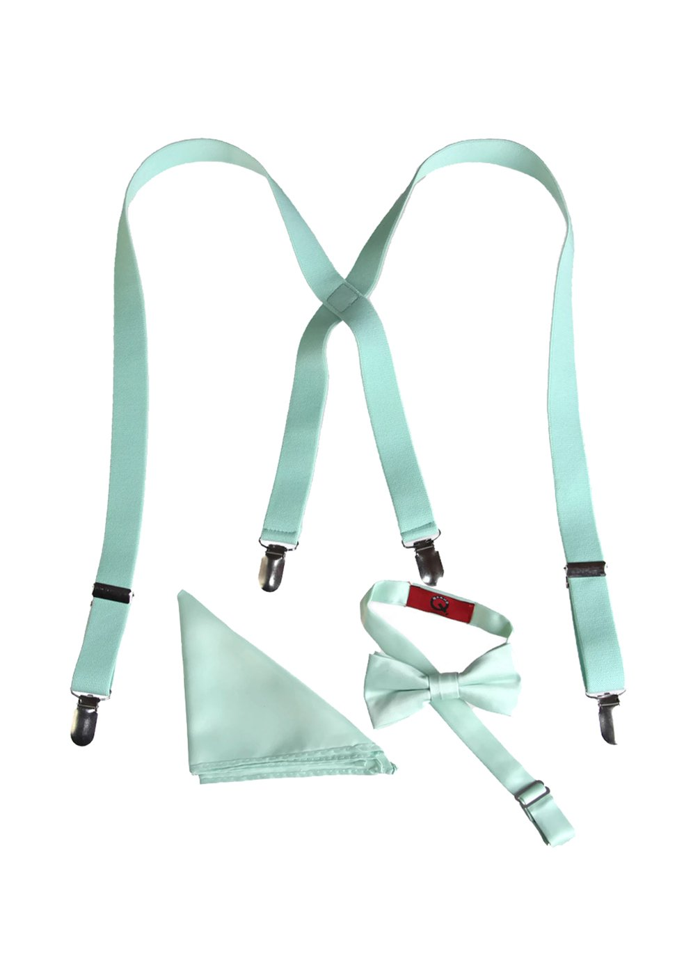 Boys Mint Green Suspender Bow Tie Set with Matching Pocket Square