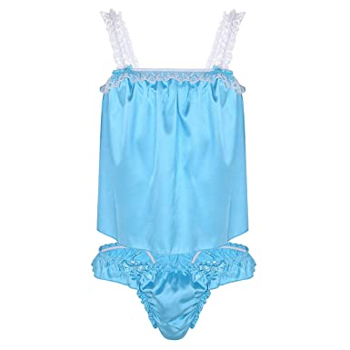CHICTRY Men s Silk Satin Camisole Cami Tops Sleepwear Sissy Lingerie Set  with Ruffles Bikini Briefs Blue