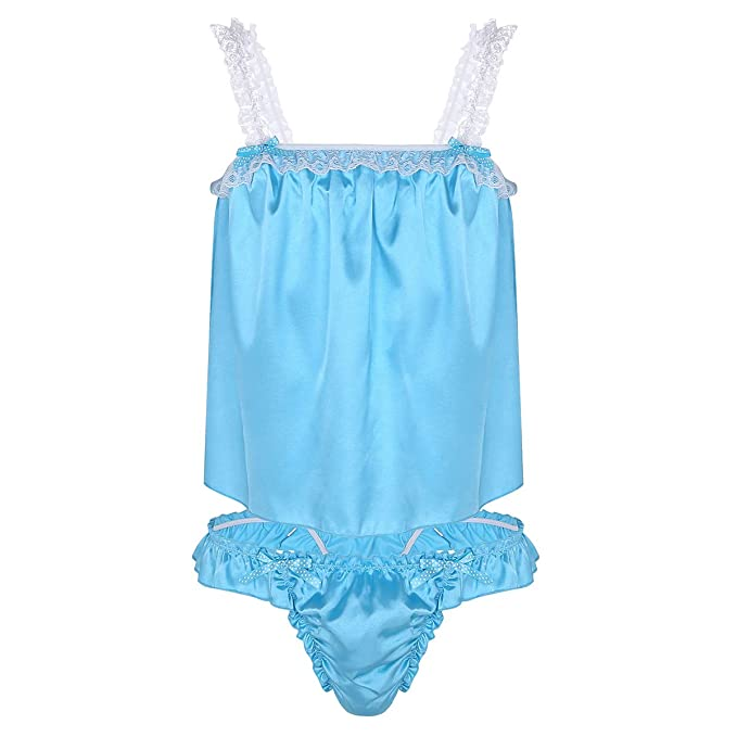 dc661fc610 Alvivi Men s 2 Piece Lingerie Set Silky Satin Tank Top Briefs Sissy  Crossdress Panties Underwear Blue