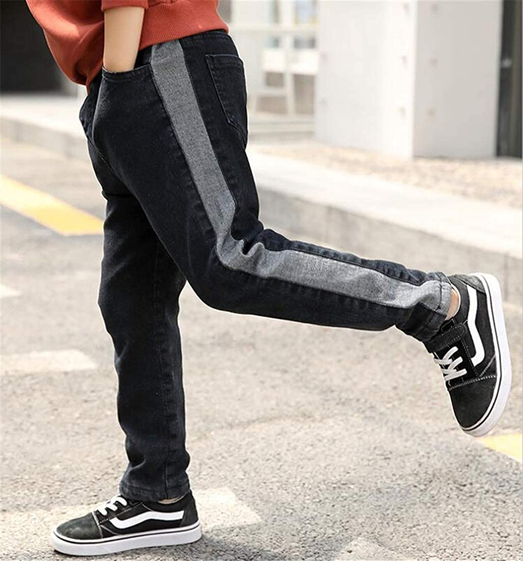 pipigo Boys Fleece Basic Jeans Cute Denim Splice Slim Pants
