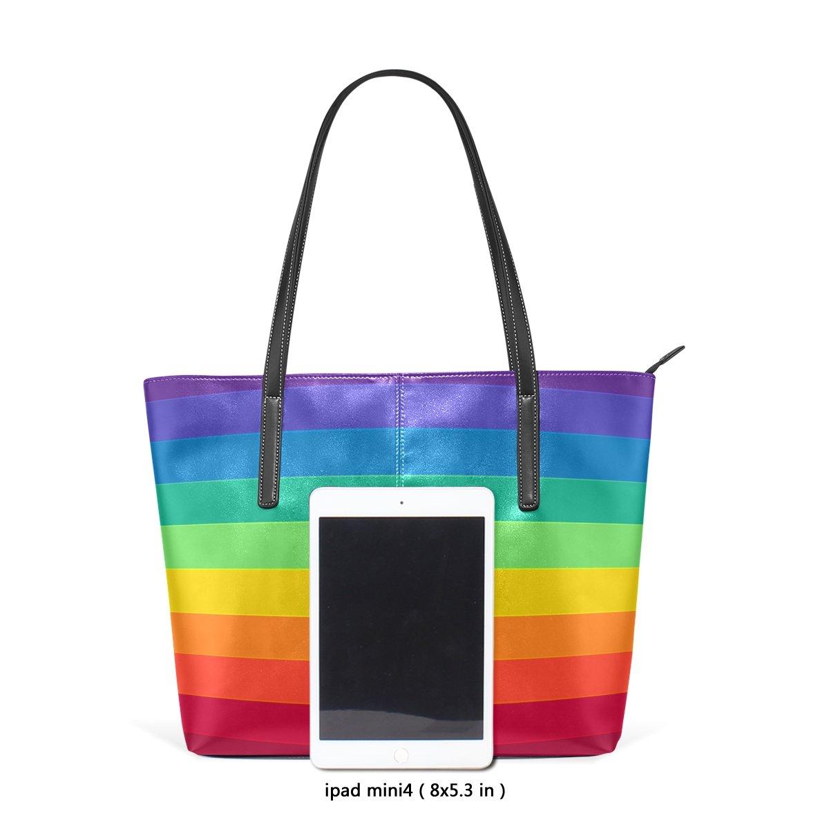 WellLee Beach Travel Totes Striped Rainbow PU Leather Shoulder Handbag for Women Girls
