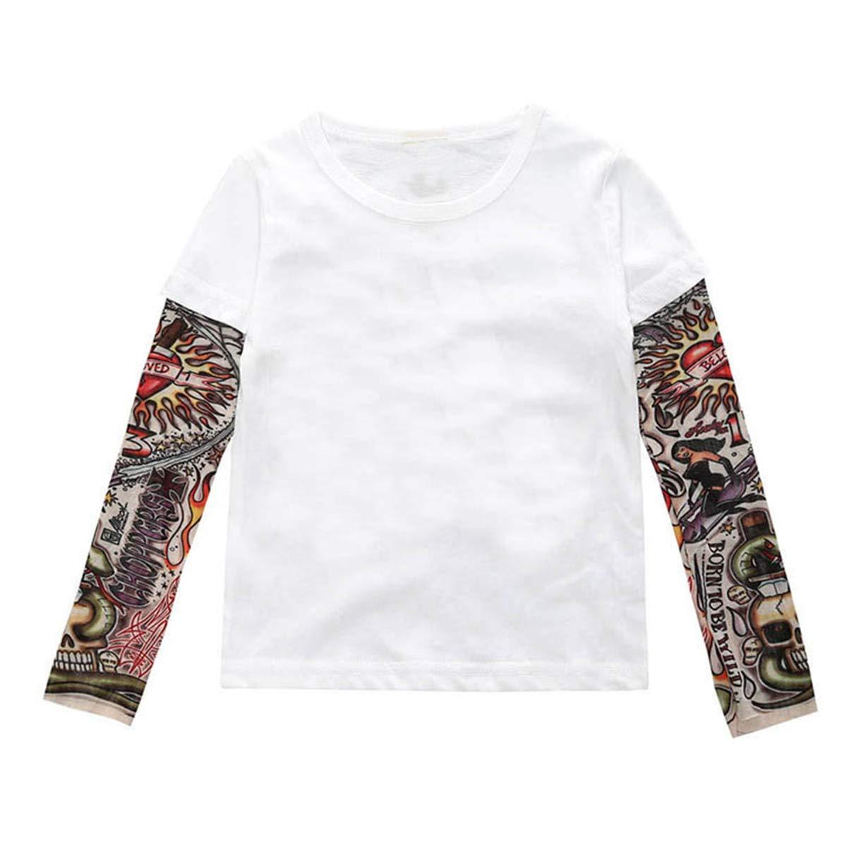 puseky Camiseta para ni/ños peque/ños con Estampado de Tatuaje y Camiseta de Manga Larga