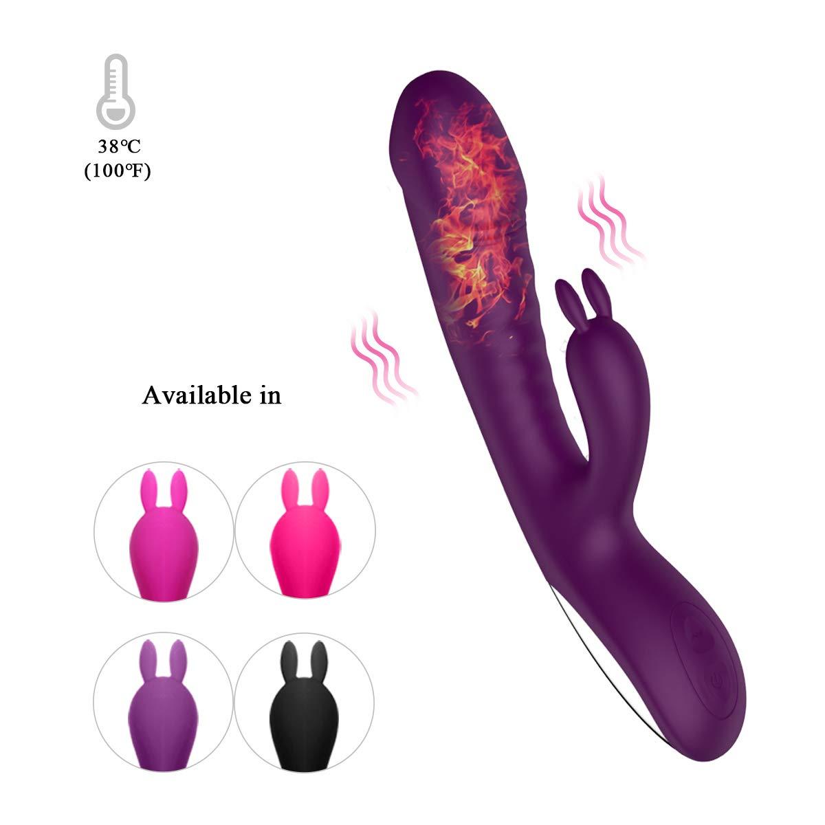 Vibrating Dildo 10 Modes, Rabbit Vibrator with Bunny Ears for Clitoris G-Spot Stimulation Dual Motors Internal Heating 38℃-40℃ Sex Toys for Women Couple-Purple