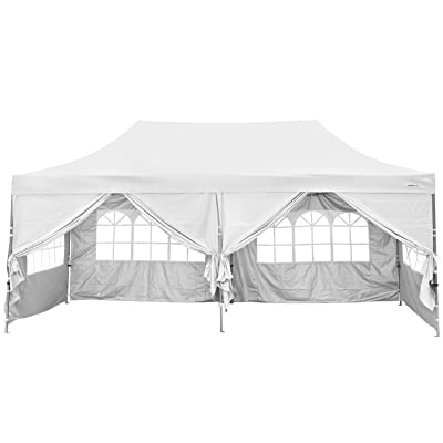 Outdoor Basic 10x20 Ft Wedding Party Canopy Tent Pop up Instant Gazebo with Removable Sidewalls and Windows (White) : Garden & Outdoor