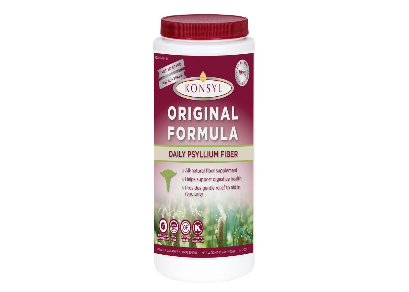 Konsyl Original Formula Psyllium Fiber 14.2 oz (402g)-  Packaging May Vary - Pack of 2