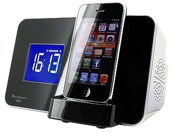 Soundmaster IP1055 Reloj Digital Negro, Color blanco - Radio (Reloj, Digital, FM,PLL, LCD, iPhone,iPod, Negro, Blanco): Amazon.es: Electrónica