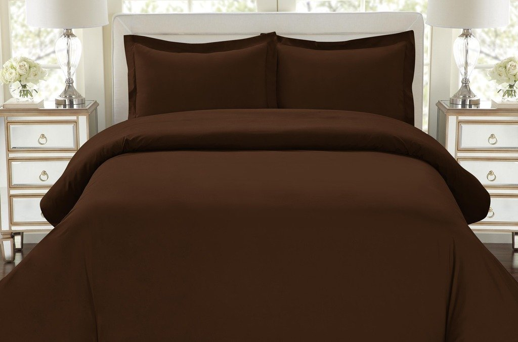 Duvet Cover Set, 3pc Luxury Soft, All Sizes & Colors, Full/Queen-Chocolate Brown