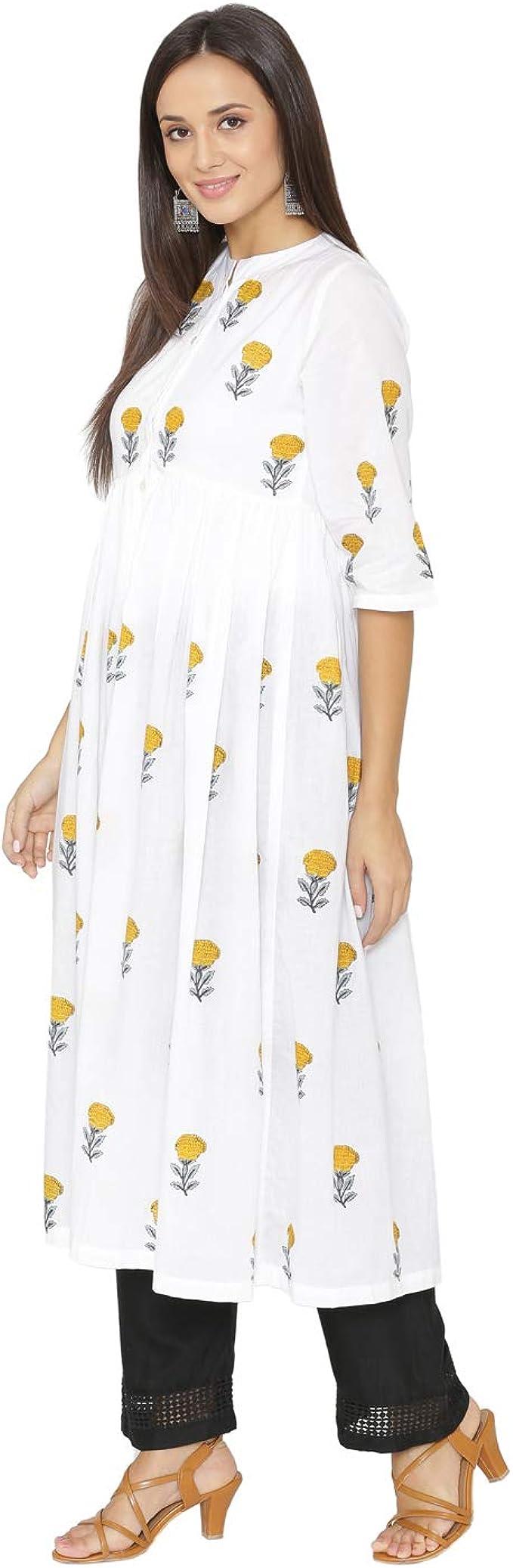 Kurta For Girls. Handmade Indian Woman Green Party Wear Indian Dress Stylish Pure Cotton Woman Long Kurti