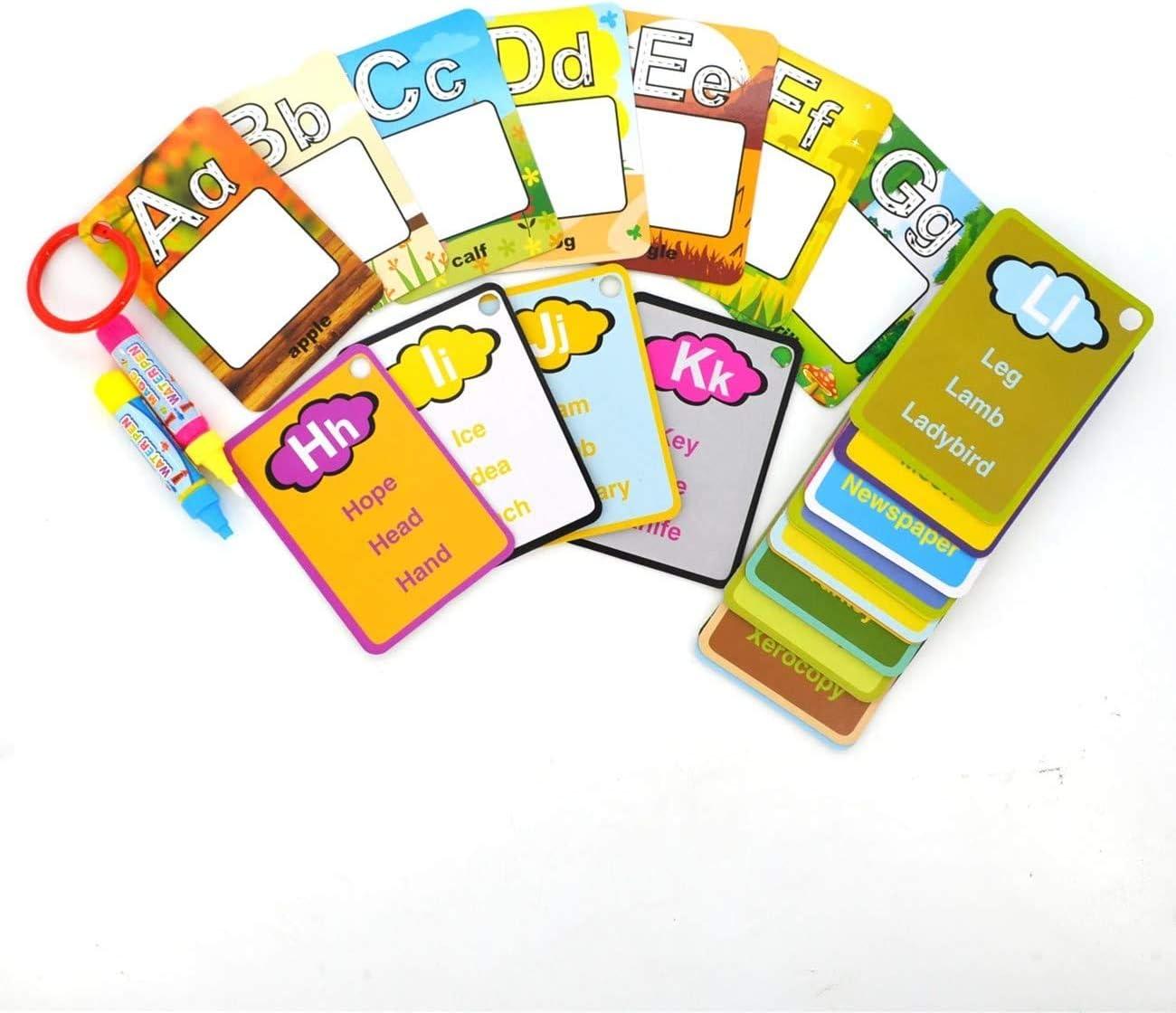 Fr/üherziehung f/ür Kinder Malen-Zeichenkarten 26 Buchstaben Erlsig Wassermalerei-Karten Wiederverwendbare Alphabet-Wassermalbuch