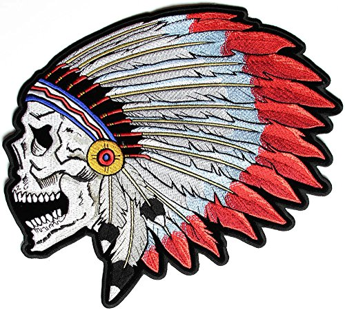Screaming Skull with Head Dress Indian Large Patch - By Ivamis Trading - 11x9.8 (Skull Center)