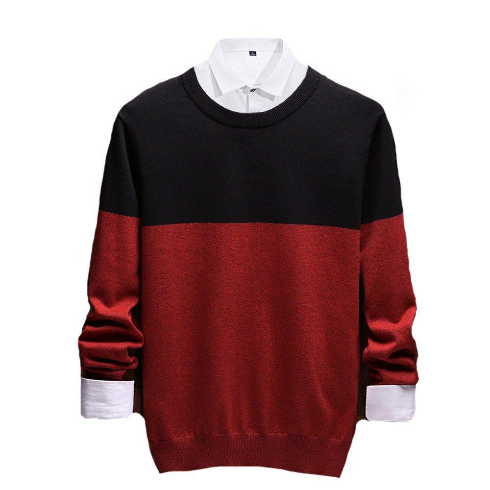 Jdfosvm männer aus Pullover, männer aus Pullover lässig Pullover um den Hals,Rotwein,XL