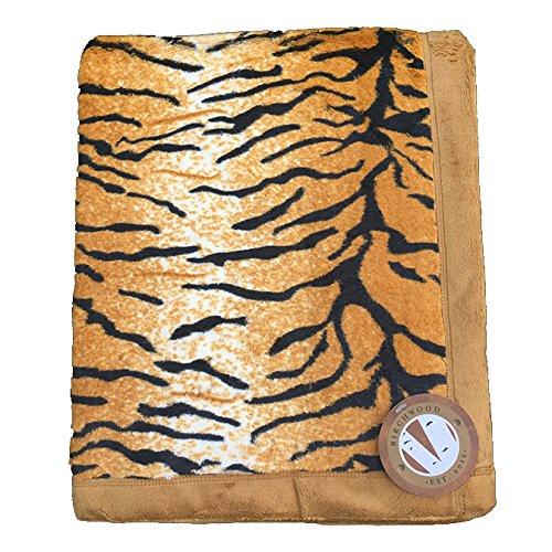 Tiger Print Throw (Birchwood Animal Print Throw Blanket, Tiger)