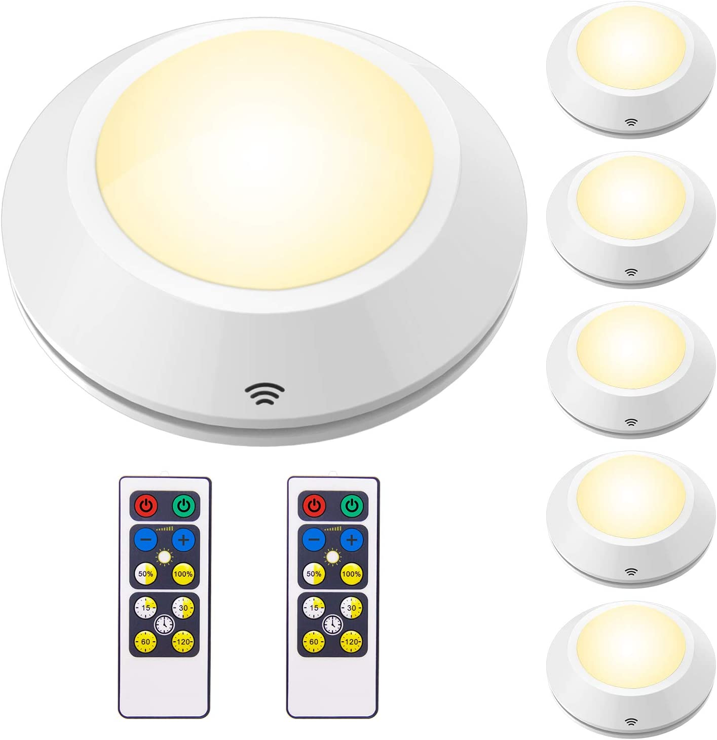 2 Pack Led Cabinet Light│Battery Operated Lights│Stick On Lights│Push Lights│Puck Lights │Touch Light│Wireless Led Lights│Stick On Tap Light with Adhesive Sticker