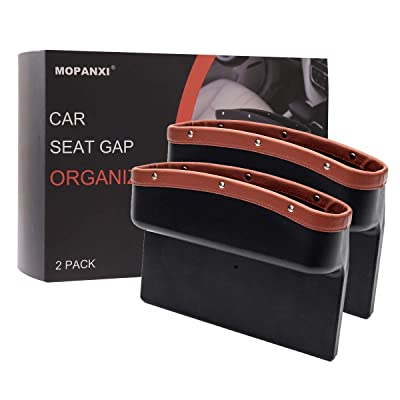 MOPANXI Car Seat Pockets PU Leather Car Console Side Organizer Seat Gap Filler Catch Caddy with Non -Slip Mat 9.2x6.5x2.1 inch Brown (2 Pack): Automotive