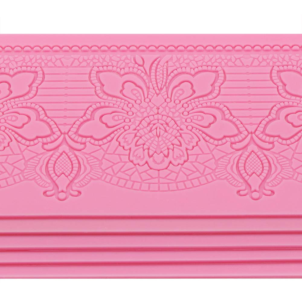 Silicone Lace Molds, Beasea 5pcs Fondant Cake Decorating Tools Lace Decoration Mat Flower Pattern Molds Sugar Craft Tools - Pink by Beasea (Image #4)