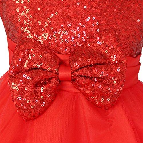 Età Dalla Elegante Ragazze Tiaobug Perfetto Vestito Di Splendido Rosso Compleanno Formali Maniche Di Principessa Nozze Festa Paillettes Regalo Per dR0xFxwacq
