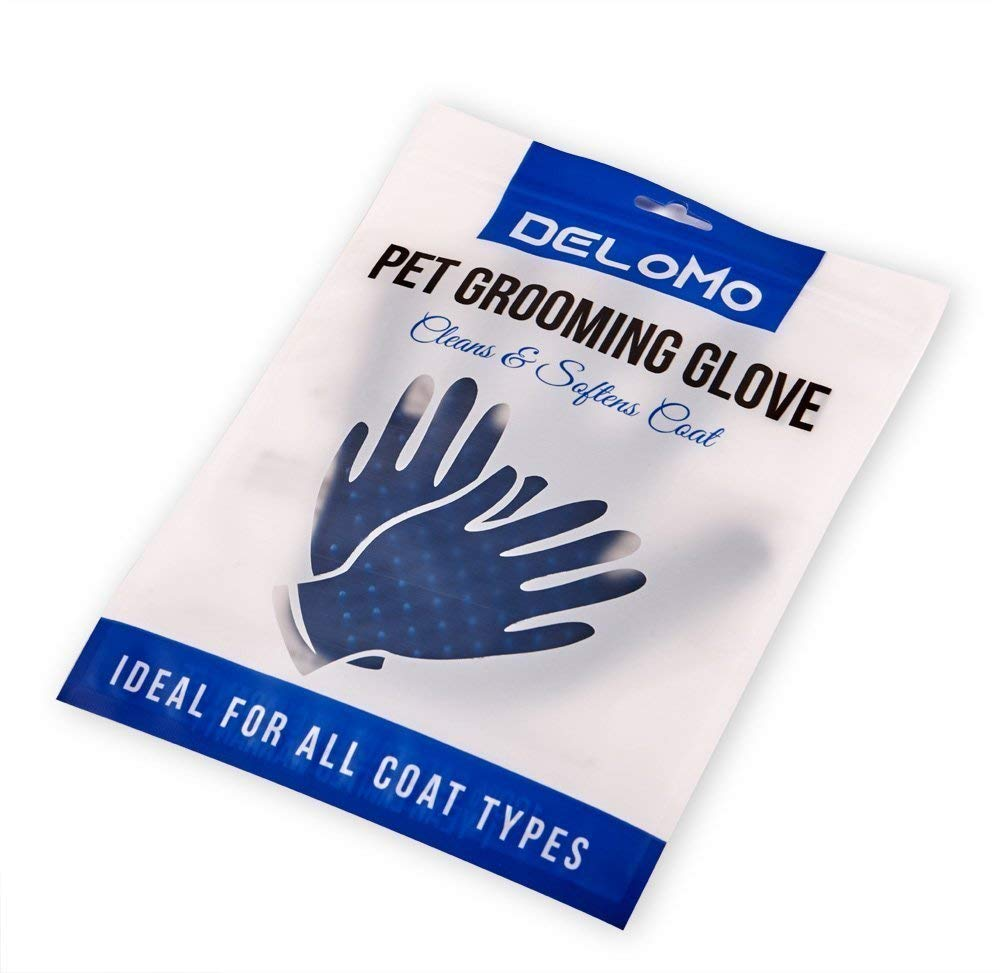 DELOMO Pet Deshedding Glove, Left & Right-Gentle Grooming Gloves, for Dogs,Cats & Horses, Efficient Pet Hair Remover Glove, Hair Glove with Enhanced Five Finger Design by DELOMO (Image #8)