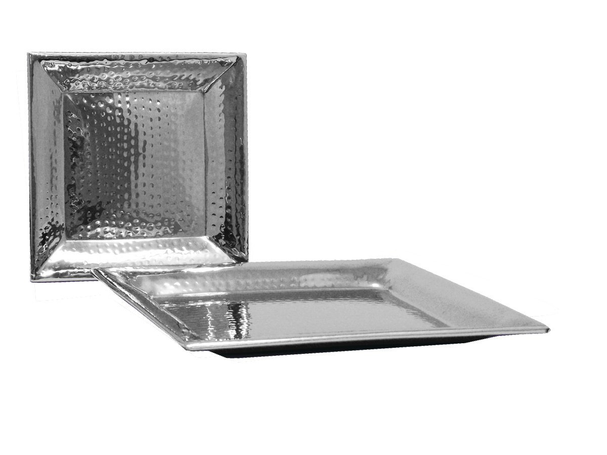 Artisan Hammered Stainless Steel 11.25'' and 16'' Square Serving Tray Set, Small/Large