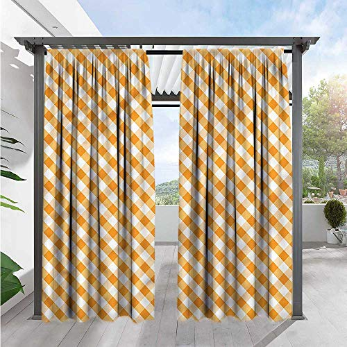 (Marilds Checkered Indoor/Outdoor Single Panel Print Window Curtain Orange Gingham Tile Curtain Liner Outdoor Privacy Porch 96