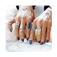 Cyntan Knuckle Ring Set Vintage Statement Ring Boho Arrow Moon Elephant Midi Finger Ring Set For Women