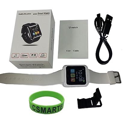 csmarte Bluetooth Smart muñeca reloj teléfono Mate para Android Samsung HTC Teléfonos blanco: Amazon.es: Relojes