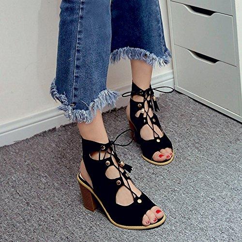COOLCEPT Mujer Moda Cordones Sandalias Hueco Slingback Vintage Tacon Ancho Gladiator Zapatos Negro