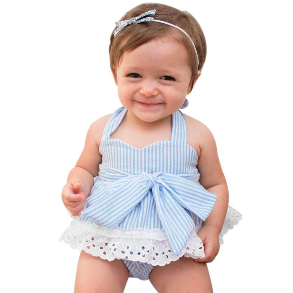 ❥Elecenty 3PCS Junge Outfit Set, Neugeborenes Bekleidungssets Mädchen Kleidung Set Blumenspitze Oberteile Streifen T-Shirt Rundhals Tops Hemd+Kurze Hose +Stirnband Baby Girl Tägliche