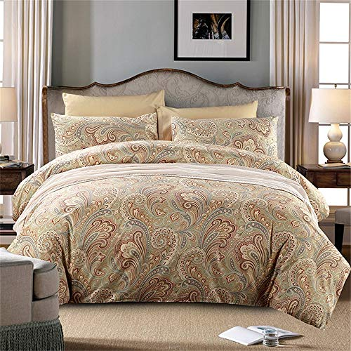SexyTown Egyptian Cotton Duvet Cover King, Luxury Hotel Collection Duvet Quilt Cover Bohemian Style Moroccan Gold Classy Paisley Regal Themed Sateen Bedding Set 3 Piece (Style Duvet Moroccan)