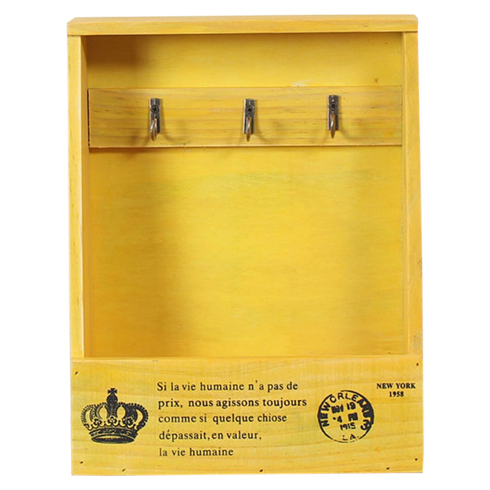 Olpchee Retro Wooden Wall Mounted & Tabletop Key Holder Rack Organizer Letter Mail Holder with 3 Key Hooks for Entryway Kitchen Office (Yellow)