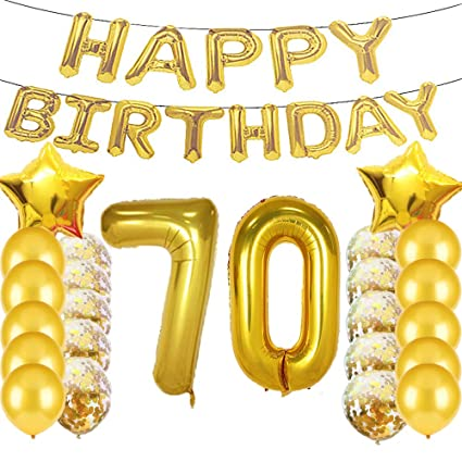 Sweet 70th Birthday Decorations Party SuppliesGold Number 70 Balloons70th Foil Mylar Balloons